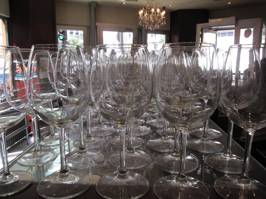 Glassware in Café Le Baron in the 9e.