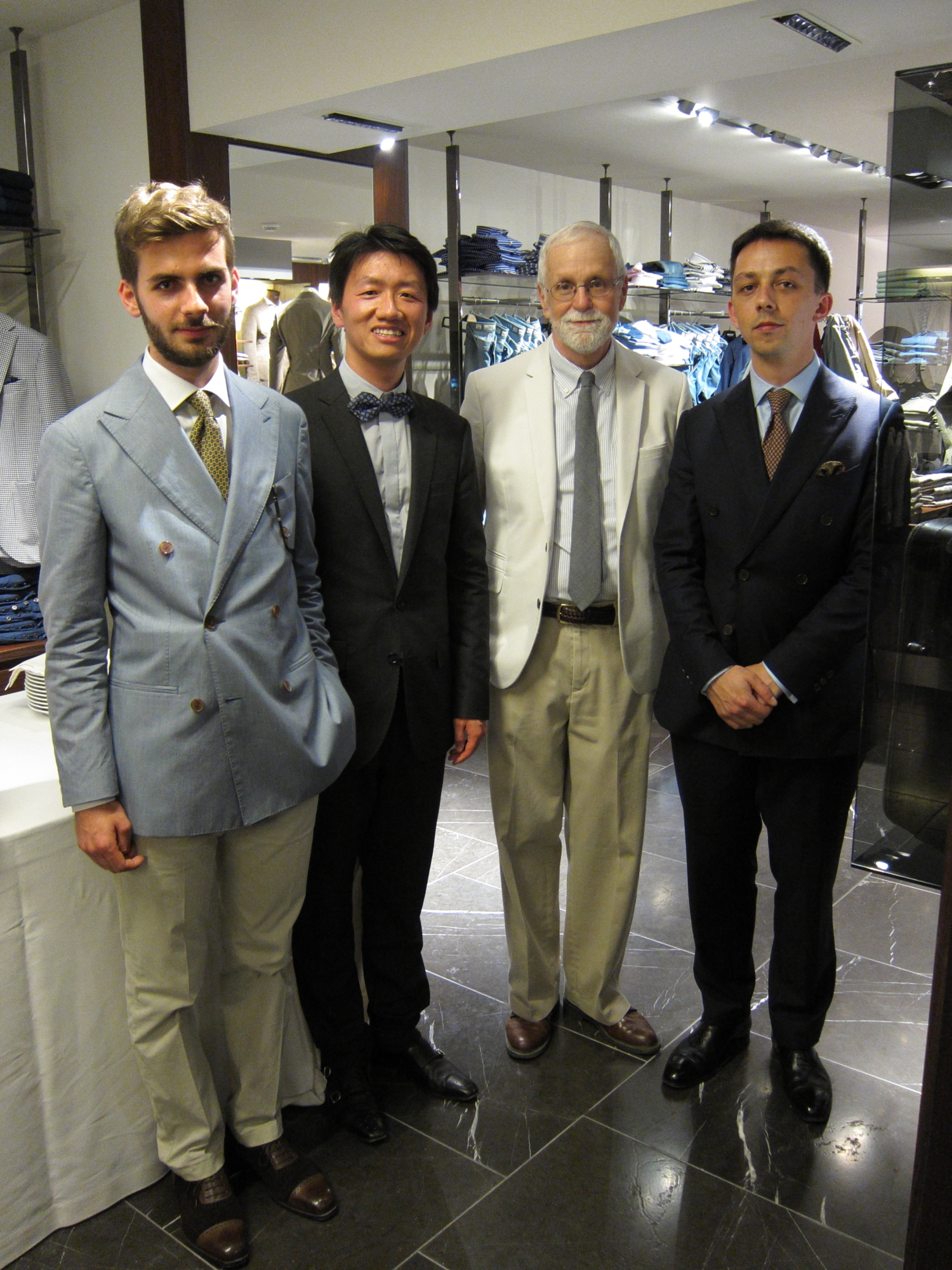 Zhizhong and Bob with our stylish new friends from Bordeaux, Adrian and Grégory.