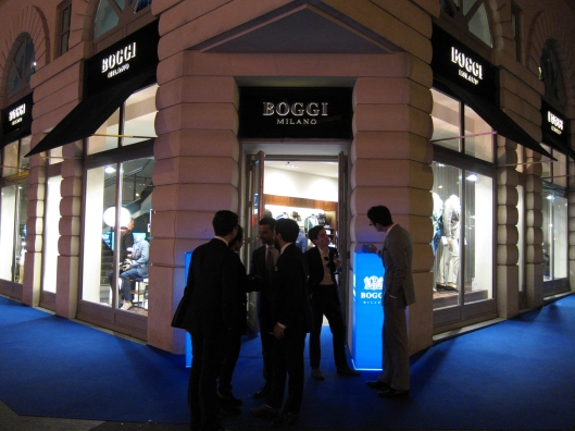 The stylish young crowd at the Boggi store on Boulevard des Italiens.