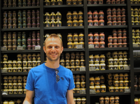Matt in mustard heaven, at the Maille shop at the Madeleine.