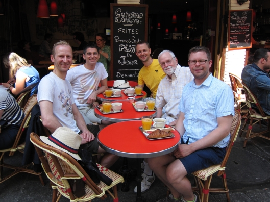 Morton, Jamie, Matt, Bob and Chris at breakfast on rue Montorgueil.