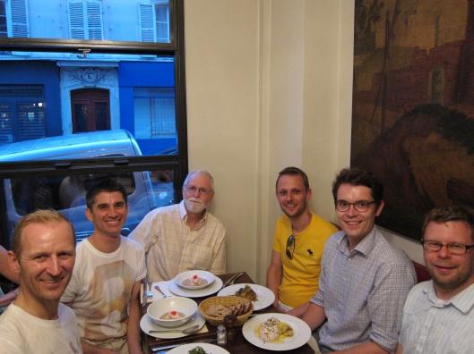 Morton, Jamie, Bob, Matt, Antoine and Chris at Le Baratin.