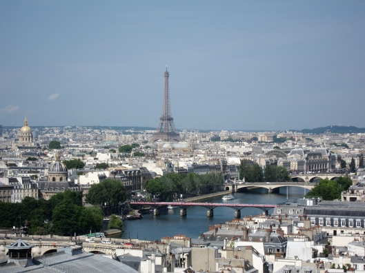 The Eiffel Tower and the Seine from the Tour Saint-Jacques in the Marais.