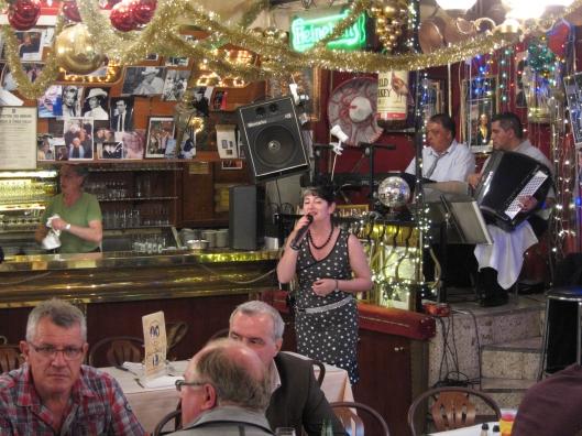 A soulful singer at Chez Louisette in the Saint-Ouen flea market.