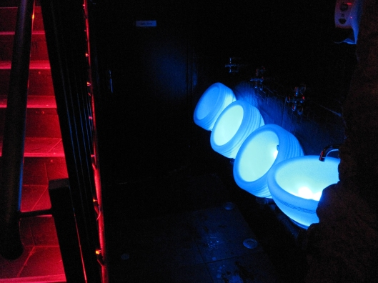 The lighted urinals at CUD, next to the entrance stairway, aren't for pee-shy patrons.