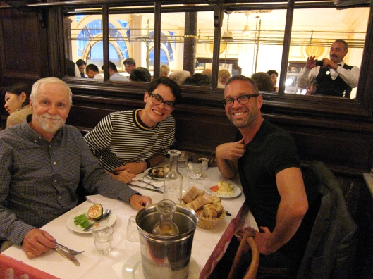 Two Bobs and Christoph at Le Bouillon Chartier.