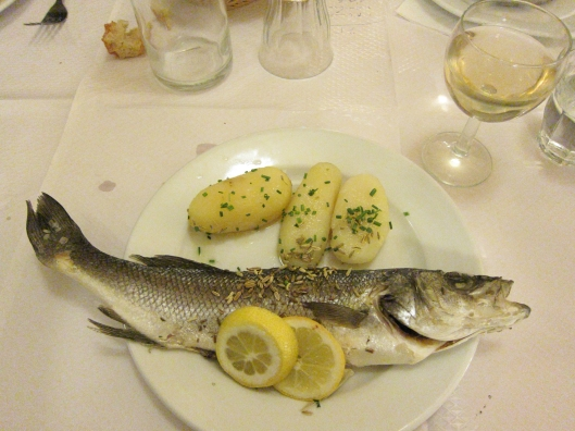 My delicious bass at Le Bouillon Chartier.