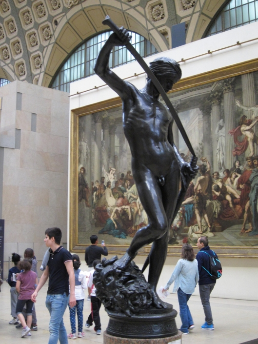 David sheathing his enormous sword, after dispatching Goliath. Musée D'Orsay