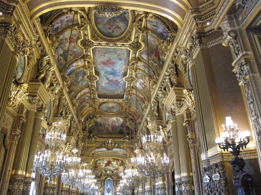 The grand foyer, modeled after the hall of mirrors in Versailles.