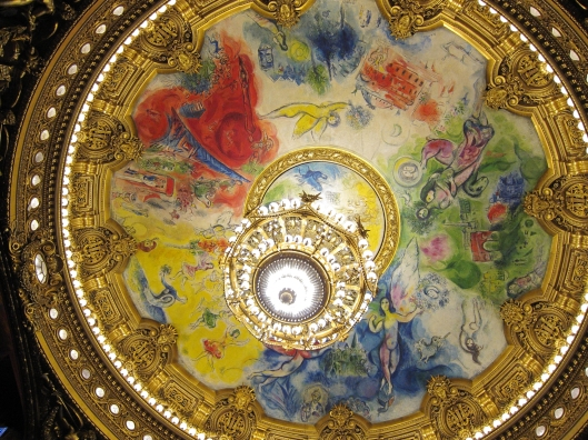 The Chagall ceiling of the auditorium of the Palais Garnier was added in 1960.