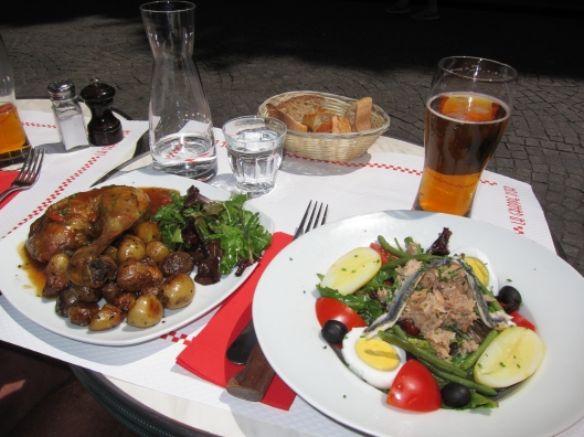 Free-range chicken and Nicoise salad at La Grappe d'Or.