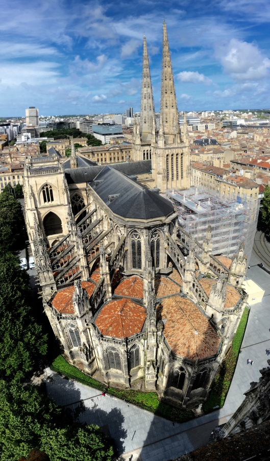 Vertical panorama of the Bordeaux Cathedral from the adjacent bell tower.