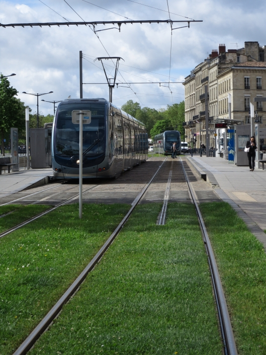 The trams are powered by a middle rail in the historic city center but by overhead wires elsewhere.