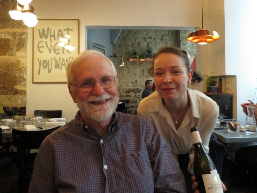 Bob with the wonderful sommelier, who spoke with us in French
