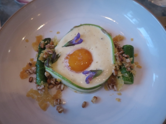Egg and asparagus course