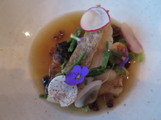Fish and morel mushroom course