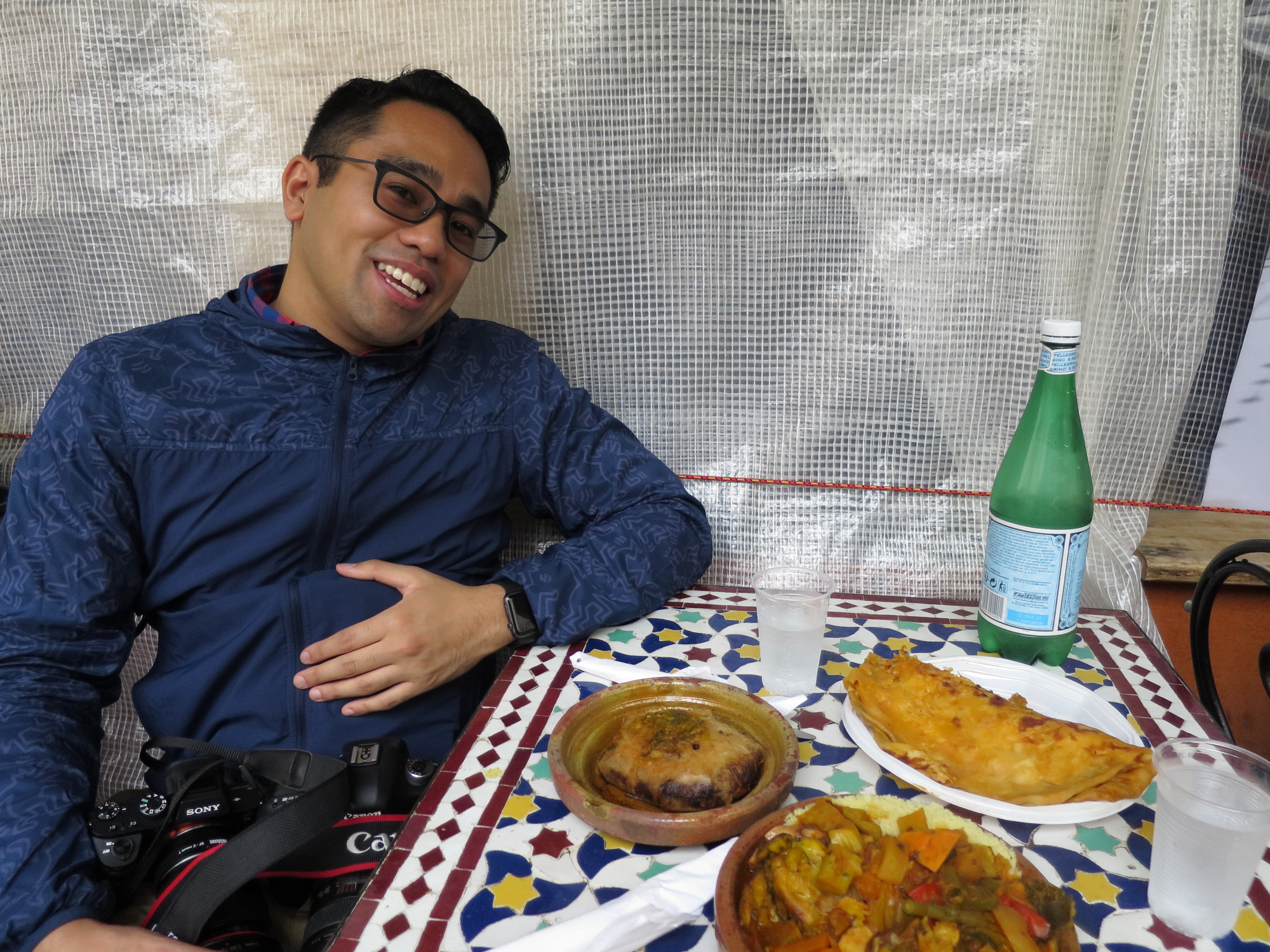 C.N. about to dive in to our Moroccan lunch at the Marché des Enfants Rouge.
