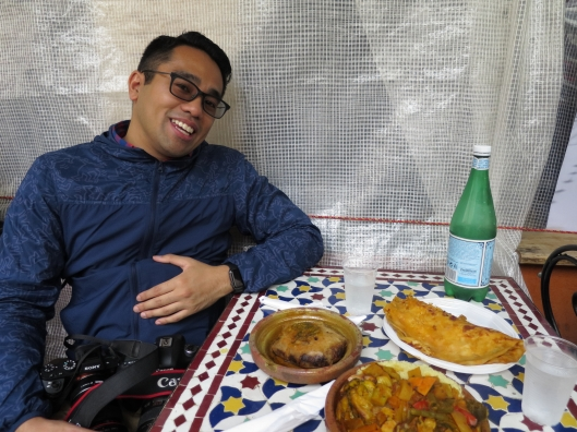Craig about to dive in to our Moroccan lunch at the Marché des Enfants Rouge.