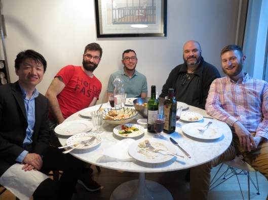 Zhizhong, Guillaume, Jared R, Bertrand and Jared W at dinner chez Bob