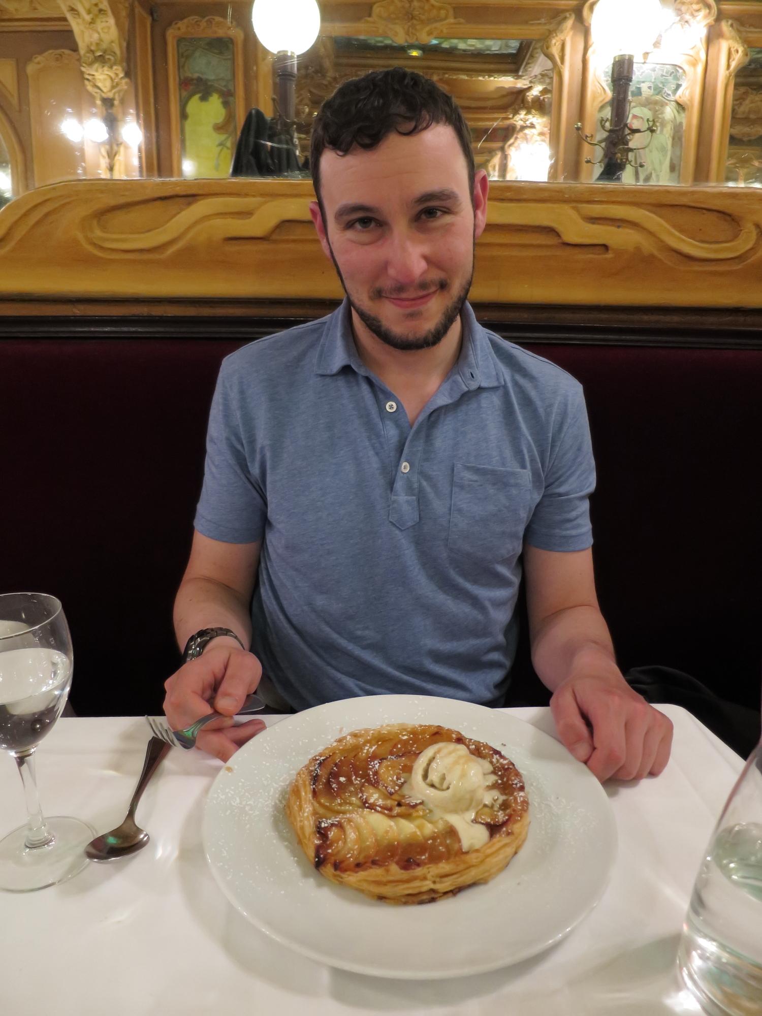 Jared R with his tarte fine dessert at Brasserie Julien