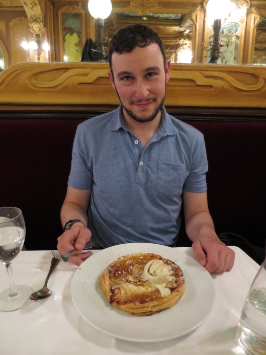 Jared R with his tarte fine dessert at Brasserie Julien