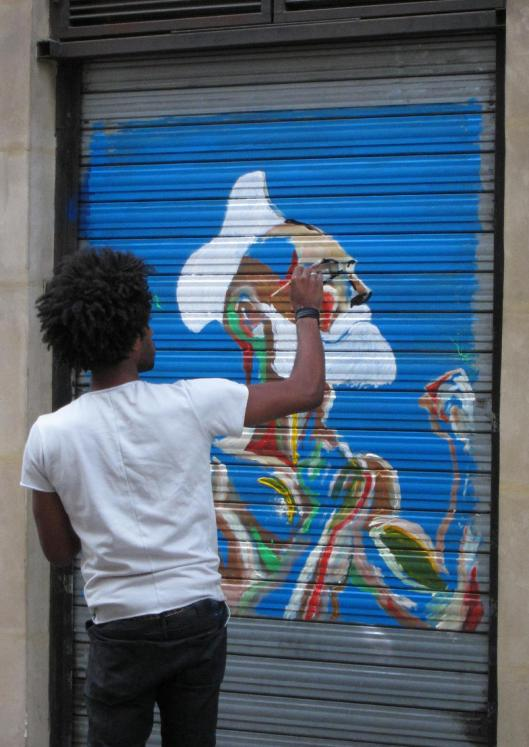 Street Art at the moment of its creation in 2015.