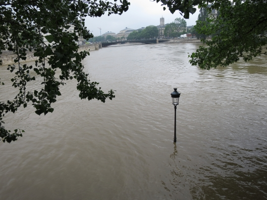 The quai at the tip of Île Saint-Louis on June 1, 2016, at the start of the Great Flood of 2016.