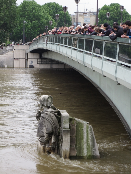 Tout Paris looking at the Great Flood of 2016 from the Pont de l'Alma