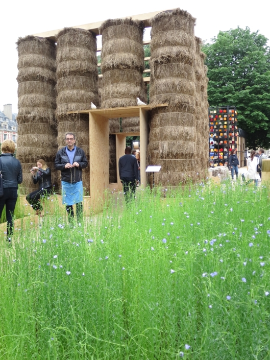 A field of flax, stacks of raw linen, etc. at the Place des Vosges