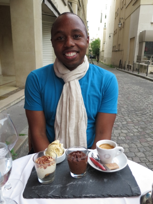 Sherard going native with his café gourmand and his French linen scarf