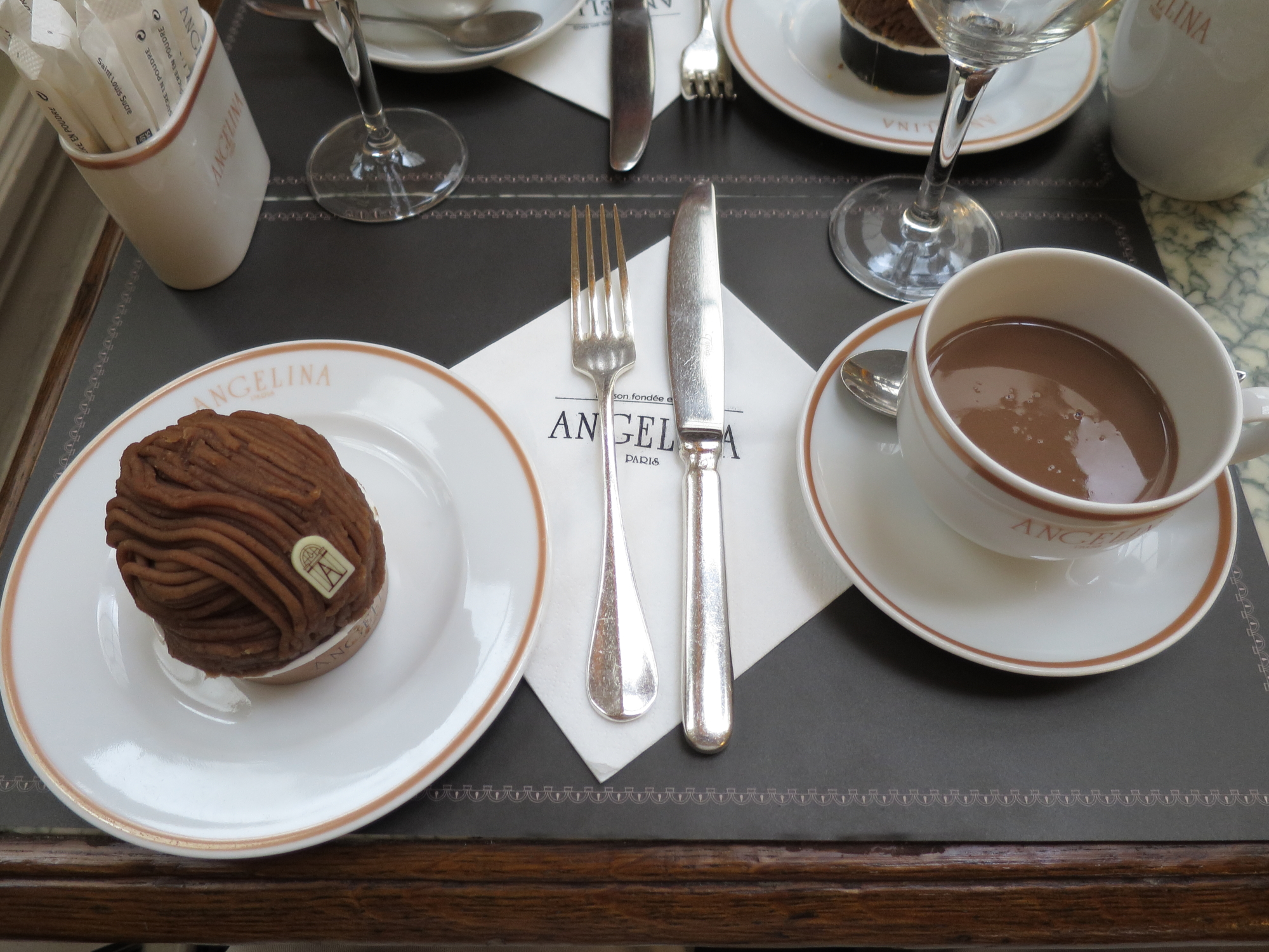 Delicious hot chocolate and rather rich chocolate truffle at Angelina's