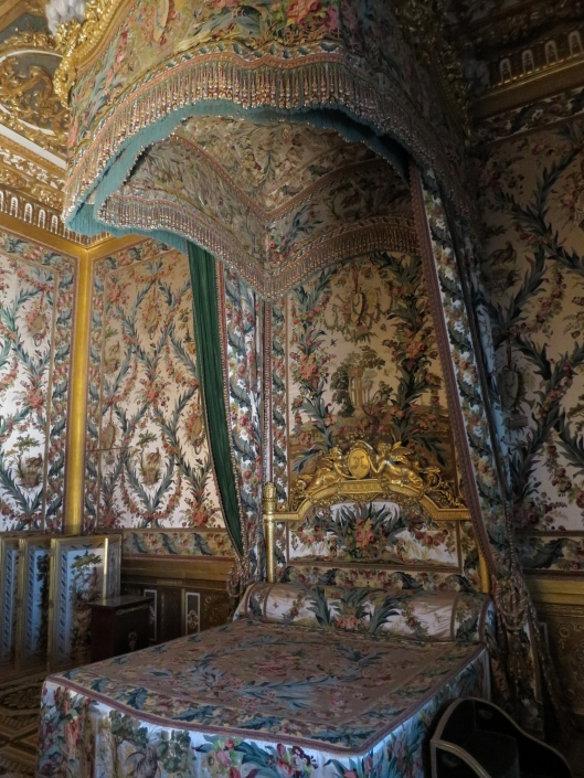 Marie Antoinette's bed at Fontainebleau. (Tho she never got to sleep in it.)