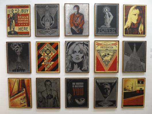 Many pieces by Shepard Fairey at Galerie Laurent Strouk