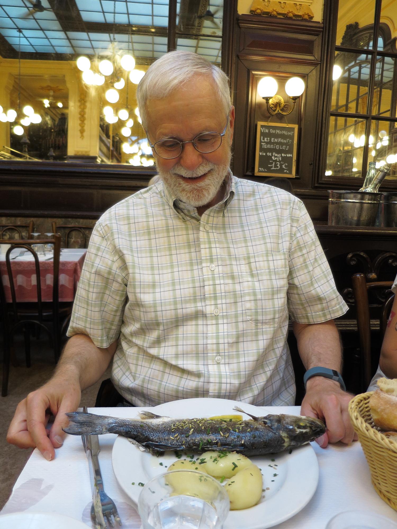 Bob at Bouillon Chartier with his bar roti