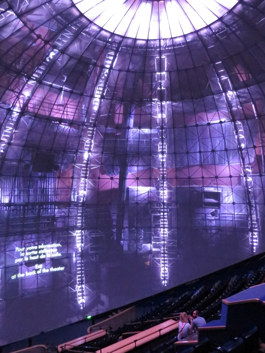 Inside the Géode showing the structure behind the screen