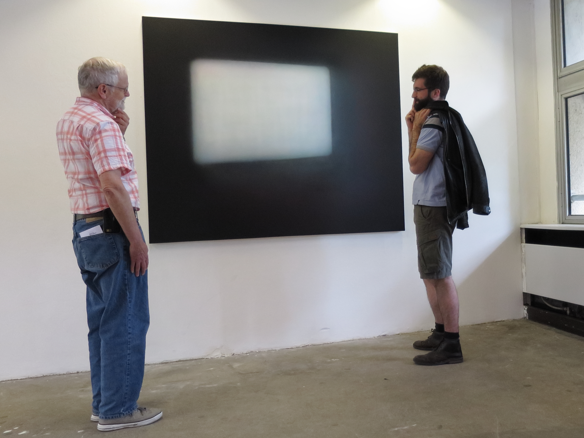 Bob and Guillaume contemplating 16mm, 2015 by Nicholas Delprat