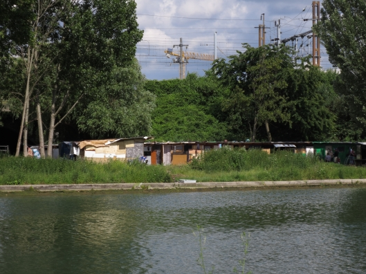 Roma shantytown across the canal