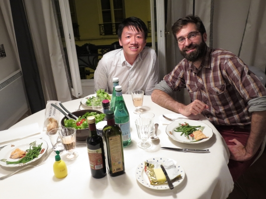 Zhizhong and Guillaume at an impromptu dinner at my 2016 apartment, on my last night in Paris!