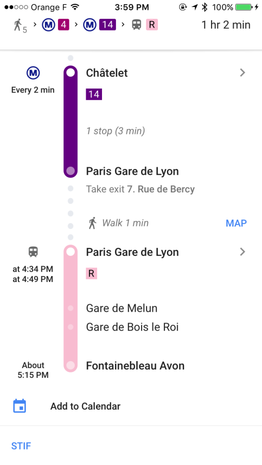Getting to Fontainebleau -- easy peasy!